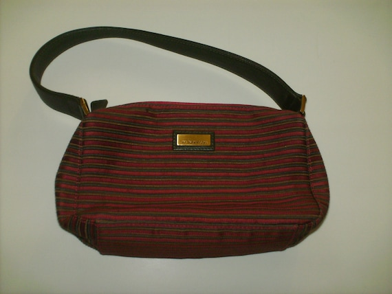 Vintage Jim Thompson Small Handbag in Rust and Olive Woven Silk