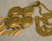 Vintage Gold Tone Metal Chain Drop Filigree Dangling Medallion