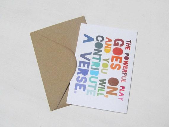 Walt Whitman Card - The Powerful Play