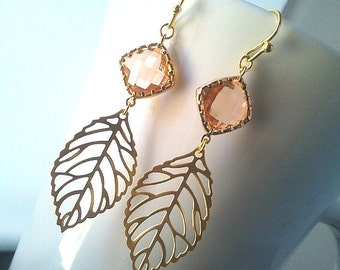 Autumn Leaf Peach Gold Chandelier Earrings ,Drop, Dangle, bridesmaid gifts,Wedding Earrings, Bridal Jewelry, Statement, Christmas Gift