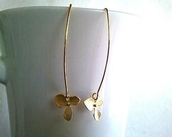 Cute Flower Linear Gold Earrings - Dangle Drop Earrings, Modern, Simple, Everyday - Gold or Silver