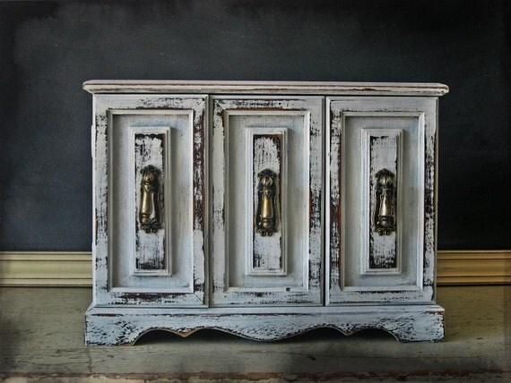 Farmhouse Cabinet Jewelry Box, Handpainted White Wooden Jewelry Box