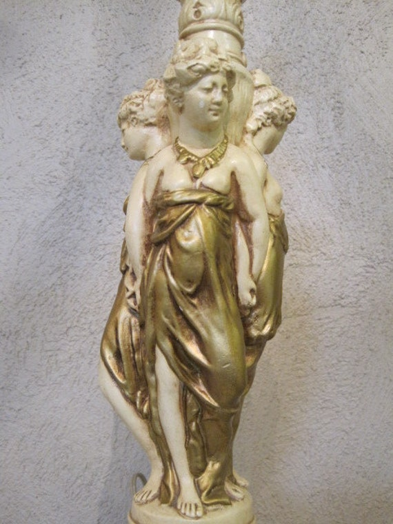 Statue Three Graces Greek Roman Lamp Ladies Vintage Clay Chic