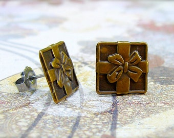 Gifted - antique brass post earrings
