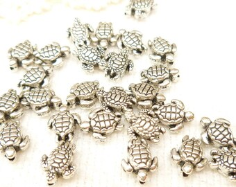 Whimsical, Miniature Life-like Sea Turtle  Spacer Beads, 3D Antique Silver (10) - SF20