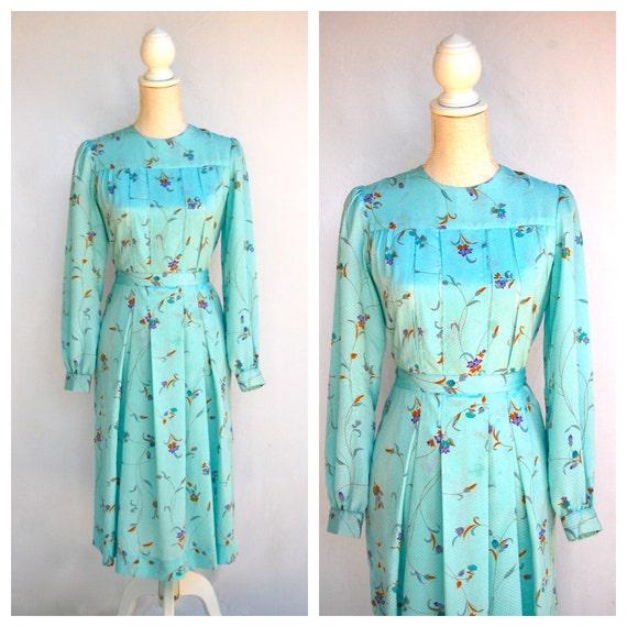Vintage Light Blue Floral Pleated Dress / Small / Waist Bow Tie / Long Sleeve / Knee Length