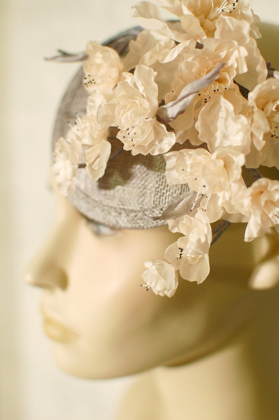 Handmade sinamay fascinator pale peach silk flower