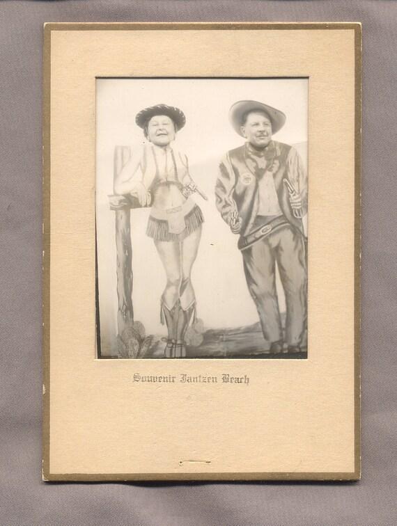 vintage photo JANTZEN BEACH SOUVENIR faces in fake cowboy bodies 1950s