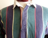 vintage 80's 90's Land's End authentic Rugby men's long sleeve color block vertical stripe primary blue red yellow and green size medium