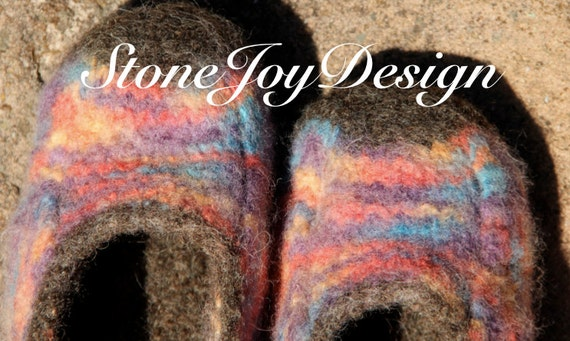 Adult Welcome Home Slippers - 9.5 inches - Handknit & Felted - StoneJoyDesign by Petra Aine Ruger