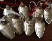 Christmas Spoon Ornaments Hand Stamped set of 6   Personalized Family Ornaments