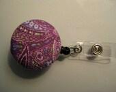 Purple Floral Print Retractable ID Badge Reel