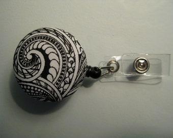 Black & White Retractable ID Badge Reel