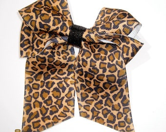 Leopard Print Ribbon Hair Bow-last one left being discontinued!