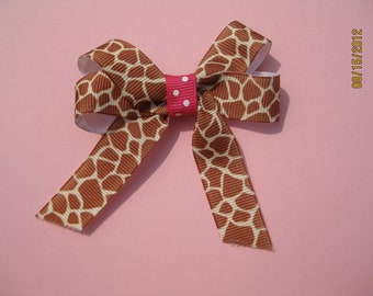 Giraffe Print and Pink Ribbon Hair Bow-last one left being discontinued!