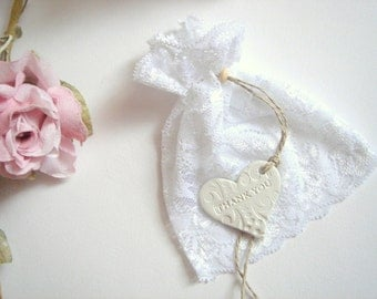 50 Wedding Favor  lace Bags,  Favor Bags with clay tags/Thank you, Shower Favor Bags,Candy Lace Bags