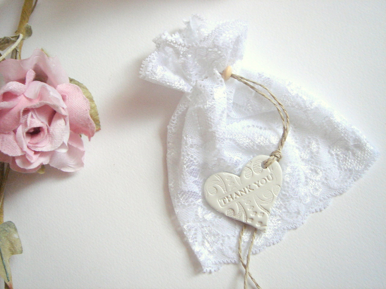 Wedding Favor Bags Lace : 50 Wedding Favor lace Bags Favor Bags with clay tags/Thank
