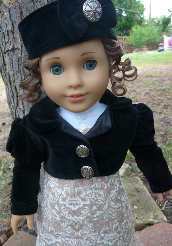 """18"""" Doll Clothes Historical Regency Gown With Spencer Jacket and Hat Fits American Girl Caroline, Josefina, Marie Grace, Cecile"""