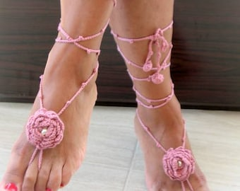 Rose Barefoot Sandals-Pink Hand Crochet Sandals-Beach Jewelry-Ready to Ship