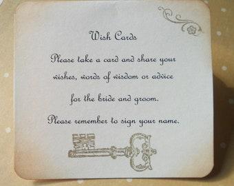 Wish card instruction sign, wedding wish tree instructions with skeleton key.