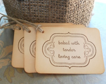 Vintage baked goods tags, home made baking favors, hostess gift tags hand stamped 'baked with tender loving care', set of 10.