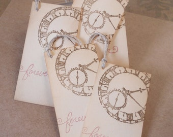 Wedding wish tree tags, vintage clock gift favors, hand stamped 'forever' in soft pink, alternative guest book, set of 10.