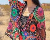 90s Rainbow Boho Crocheted Cardigan