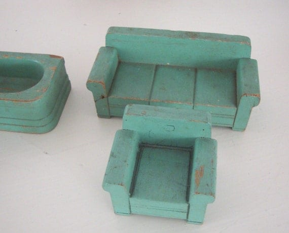 Aqua Dollhouse Furniture Vintage Wood Wooden Couch
