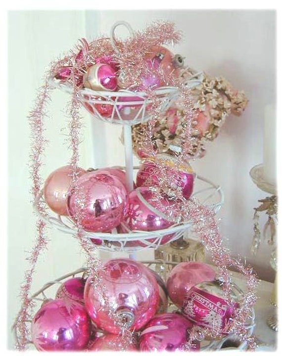 Vintage pink tinsel garland christmas decorations