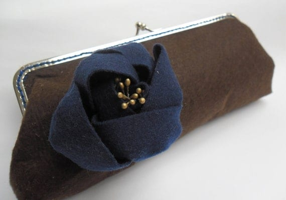 SALE%50... Brown Felt Clutch with Flower