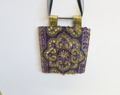 Violet vintage pendant,handmade,stone,sequin,embroidered,free shipping