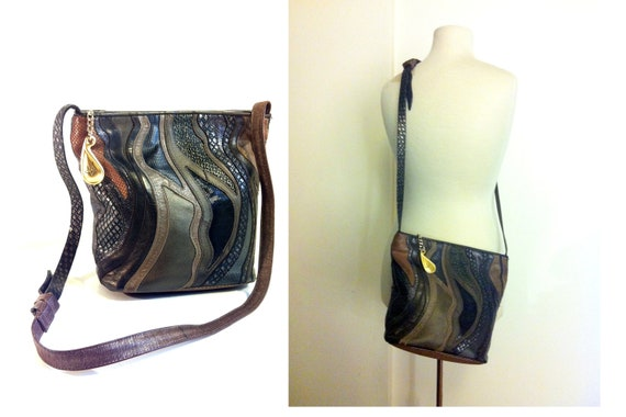 RESERVED FOR PHYLLIS Sharif Tribal Abstract Patchwork Leather Bag - 80s Black Browns Multi-texture