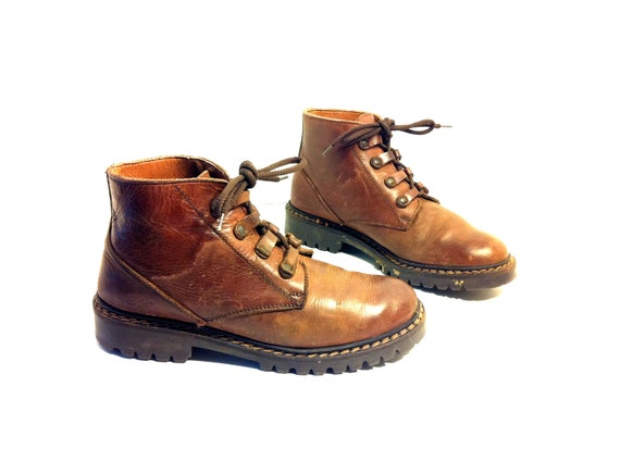 Brown Leather Lace Up Combat Ankle Boots 7 - Rustic Hiking Booties