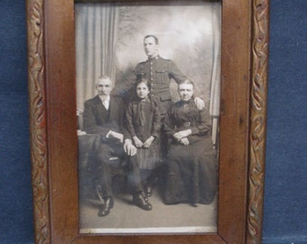 Charming ANTIQUE FRAMED PICTURE War Hero Soldier and Family