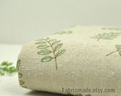 Sale- Natural Linen Fabric Printed With Green Olive Branch Table Clothes Bag Fabric- ZAKKA 1/2 Yard