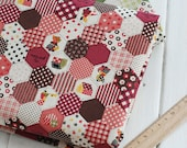 Cotton Linen Fabric Hexagon Patchwork With Girl Dots Stripe Flower Words-  1/2  yard Red Blue