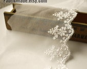 White Embroidery Lace Trim, Bridal Lace, Wedding Lace, Floral Lace, Spun Gold Embroidery - Width 8cm 3 inches Lace by yard One Yard - fabricmade