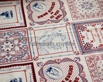 """Cotton Linen Fabric Cloth - Sea Journal Off White Fabric Red Blue Vintage Voyage Sailing Vessel Ship World Map 22""""x55"""""""