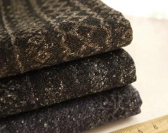 """Wool Tweed Fabric Winter Christmas Snowflake Wool Fabric Dark Brown Black Navy Blue Wool  - 1/2 yard 18""""X47"""""""