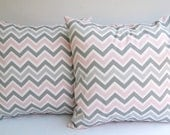Throw pillow covers set of two 16 x 16 zoom zoom chevron in baby pink gray white