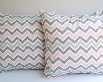 Throw pillow covers set of two zoom zoom chevron in baby pink gray white cushion cover pillow sham