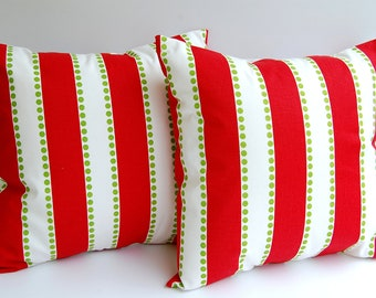 Christmas pillow covers holiday decor set of two LuLu Stripe Christmas throw pillows holiday red white chartreuse green