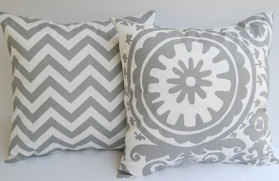 Throw pillow covers set of two Storm Gray and white Chevron zig zag and Suzani