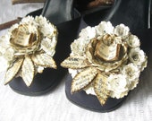 Paper Anniversary Gift - Shoe Clips - First Anniversary  - Vintage Inspired Accessories - Victotian Style Shoe Clip