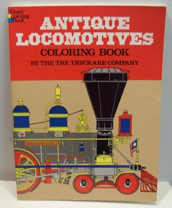 Vintage Antique Locomotives Coloring Book Dover isbn 048623293x 1976
