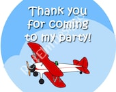 "White & Red Airplane Biplane Stickers - Sheet of 20 - 2"" round.  Airplane Birthday Party Favors.  2 Inch Round Airplane Stickers"