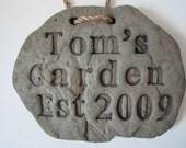 Small Rock Hanging Sign, Garden Sign, Family Sign, Personalized Sign