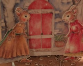 Pink Lady Bunny's handcrafted Paper animal doll house theatre, Paper bunnies and house