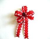 Lady bug mini bow with red and white polka dot ribbon (SB31)