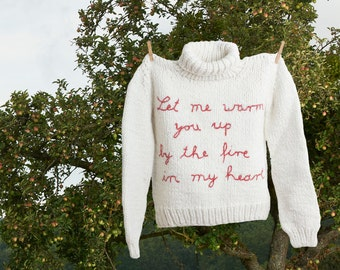 "Pullover, alpaca white, hand-knitted and hand-embroidered - ""Woolen Heart"""